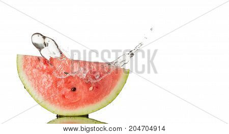 Watermelon With Water Splash isolated on white background.