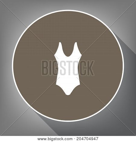 Woman's swimsuit sign. Vector. White icon on brown circle with white contour and long shadow at gray background. Like top view on postament.