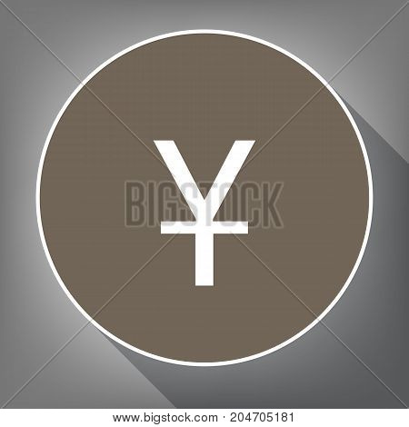 Chinese Yuan sign. Vector. White icon on brown circle with white contour and long shadow at gray background. Like top view on postament.