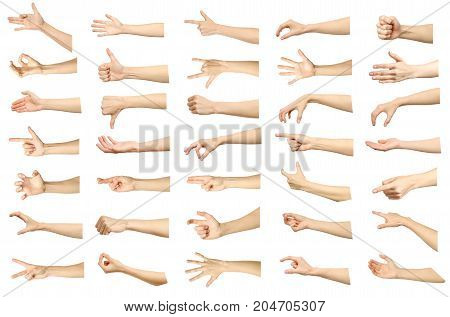 Multiple Images Set Of Female Caucasian Hand Gestures Isolated