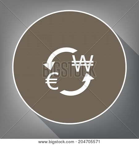 Currency exchange sign. Euro and South Korea Won. Vector. White icon on brown circle with white contour and long shadow at gray background. Like top view on postament.