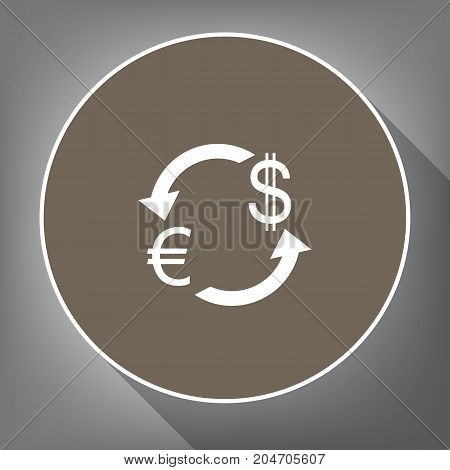 Currency exchange sign. Euro and Dollar. Vector. White icon on brown circle with white contour and long shadow at gray background. Like top view on postament.