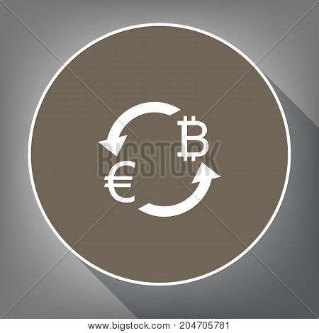 Currency exchange sign. Euro and Bitcoin. Vector. White icon on brown circle with white contour and long shadow at gray background. Like top view on postament.