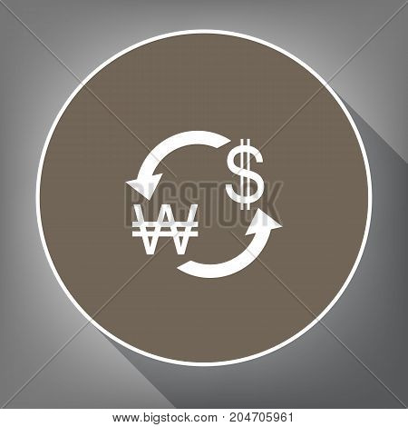 Currency exchange sign. South Korea Won and US Dollar. Vector. White icon on brown circle with white contour and long shadow at gray background. Like top view on postament.