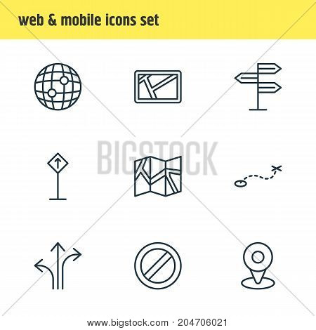 Editable Pack Of World, Location, Block And Other Elements.  Vector Illustration Of 9 Direction Icons.