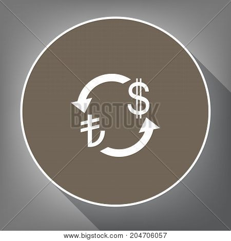 Currency exchange sign. Turkey Lira and US Dollar. Vector. White icon on brown circle with white contour and long shadow at gray background. Like top view on postament.