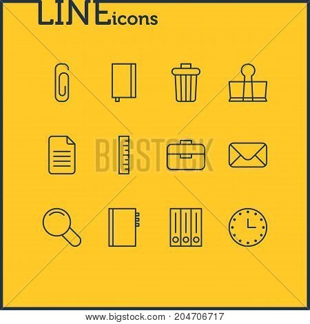Editable Pack Of Textbook, Binder Clip, Zoom And Other Elements.  Vector Illustration Of 12 Instruments Icons.