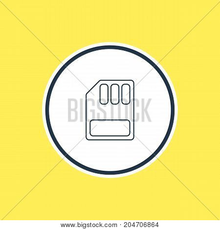 Beautiful Notebook Element Also Can Be Used As Storage  Element.  Vector Illustration Of Sd Card Outline.