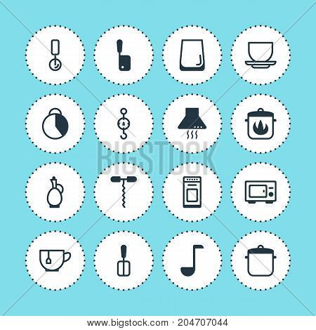 Editable Pack Of Soup Spoon, Round Slicer, Oven And Other Elements.  Vector Illustration Of 16 Kitchenware Icons.