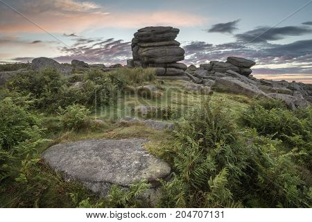 Stunning Dawn Sunrise Landscape Image Of Higger Tor In Summer In Peak District England