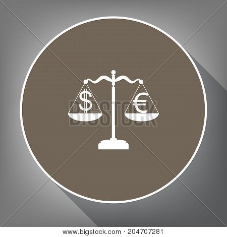 Justice scales with currency exchange sign. Vector. White icon on brown circle with white contour and long shadow at gray background. Like top view on postament.