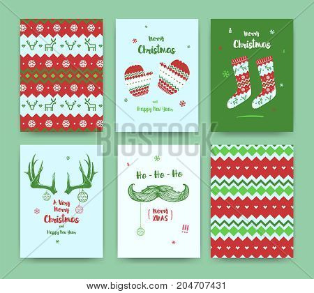 Merry Christmas greeting card set with socks winter gloves mustache and horns classic colors