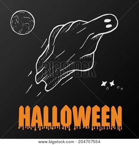 ghosts for Halloween on black background. cute ghosts characters. vector illustration eps 10