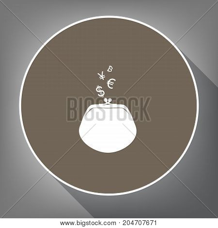 Wallet sign with currency symbols. Vector. White icon on brown circle with white contour and long shadow at gray background. Like top view on postament.
