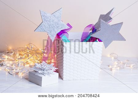 Wooden star Christmas decoration.Winter Christmas background. hristmas and New year concept.