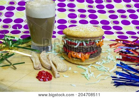 Dessert Imposter Cheeseburger With Apple Fries And Root Beer Float