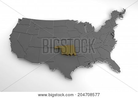 United States of America, 3d metallic map, with Oklahoma state highlighted. 3d render