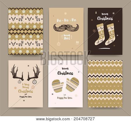 Merry Christmas greeting card set with socks winter gloves mustache and horns golden colors