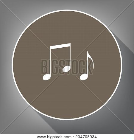 Music notes sign. Vector. White icon on brown circle with white contour and long shadow at gray background. Like top view on postament.