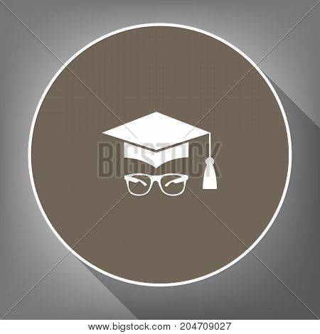 Mortar Board or Graduation Cap with glass. Vector. White icon on brown circle with white contour and long shadow at gray background. Like top view on postament.