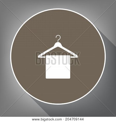 Towel On Hanger sign. Vector. White icon on brown circle with white contour and long shadow at gray background. Like top view on postament.