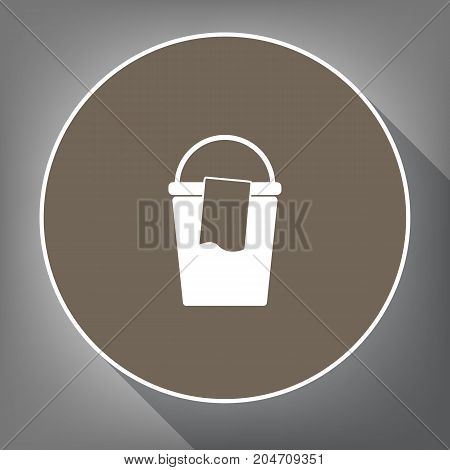 Bucket and a rag sign. Vector. White icon on brown circle with white contour and long shadow at gray background. Like top view on postament.