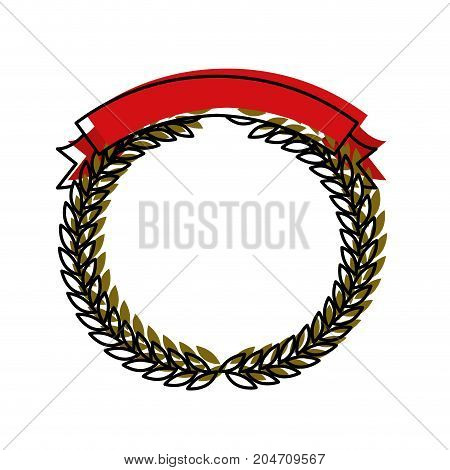 green olive branches forming a circle with red ribbon thick on top colorful watercolor silhouette vector illustration