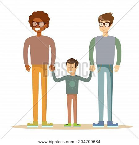 Happy gay men posing with their child. Mixed race family.Stock flat vector illustration.
