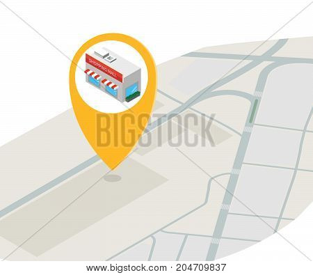 Flat isometric paper map with huge map pointer vector illustration. Isometric supermarket or shopping center. -stock illustration