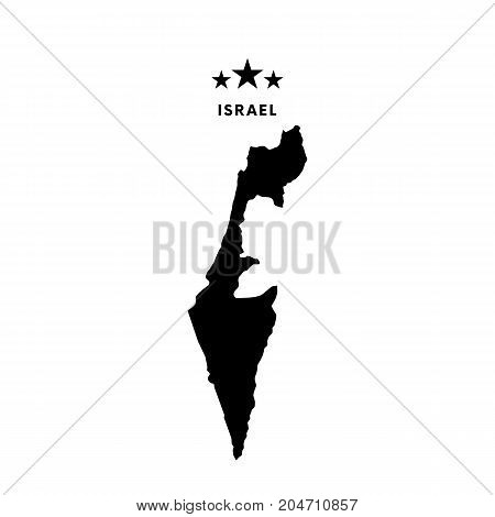Israel map. Stars and text. Vector illustration.