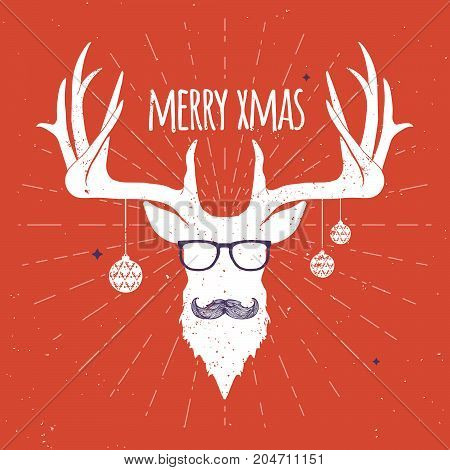 Hipster Vintage Christmas Deer White Silhouette on Red Background with Mustache and Eyeglasses