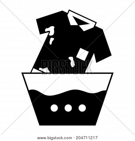 contour dirty t-shirt soaking in pail with water vector illustration