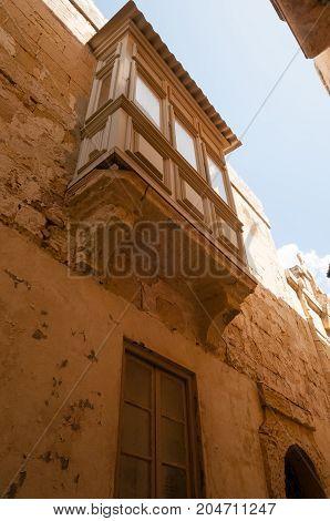 Balcony in the ancient city of Mdina Malta