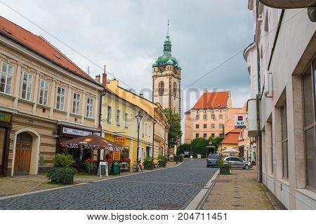 MELNIK, CZECH REPUBLIC - 02.09.2017: Panorama of old square in Melnik, city in Bohemia region, Czech Republic