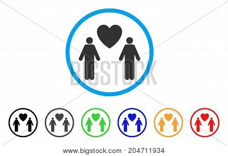 Gay Lovers rounded icon. Style is a flat gay lovers gray symbol inside light blue circle with black, gray, green, blue, red, orange variants. Vector designed for web and software interfaces.