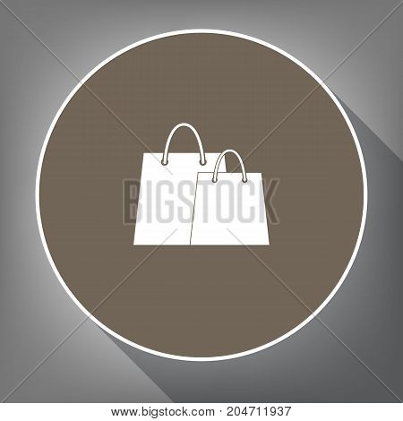 Shopping bags sign. Vector. White icon on brown circle with white contour and long shadow at gray background. Like top view on postament.