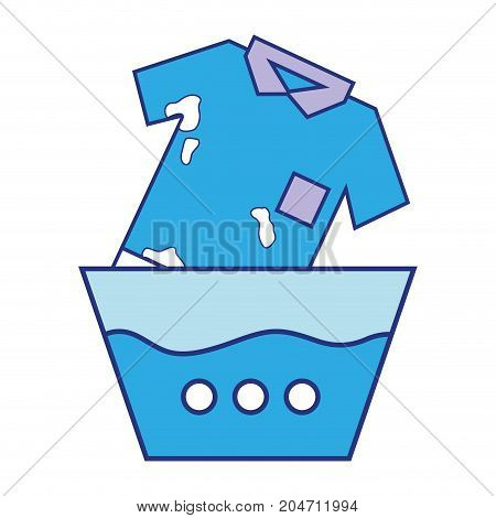 dirty t-shirt soaking in pail with water vector illustration