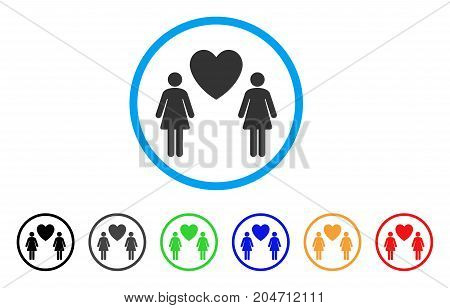 Lesbi Love Pair rounded icon. Style is a flat lesbi love pair gray symbol inside light blue circle with black, gray, green, blue, red, orange variants. Vector designed for web and software interfaces.