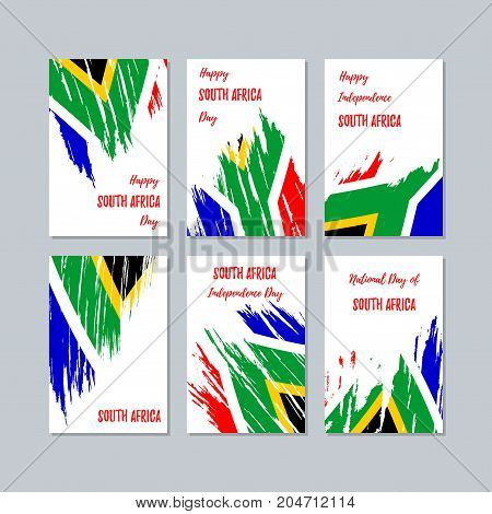 South Africa Patriotic Cards For National Day. Expressive Brush Stroke In National Flag Colors On Wh