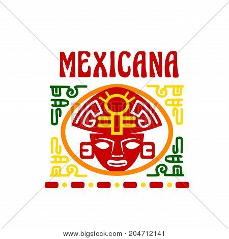 Mexican fast food restaurant, traditional cuisine of Mexico vector emblem. Ancient aztec mask, decorated with mexican ethnic ornament isolated symbol for restaurant or cafe signboard design