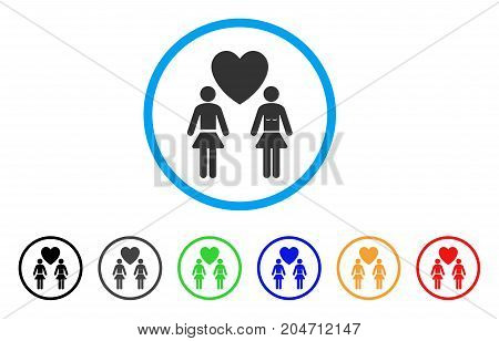 Lesbi Love Pair rounded icon. Style is a flat lesbi love pair grey symbol inside light blue circle with black, gray, green, blue, red, orange variants. Vector designed for web and software interfaces.