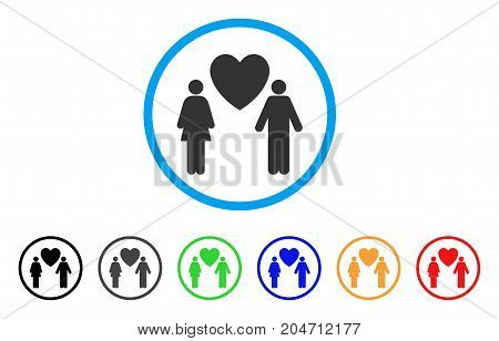 Love Couple rounded icon. Style is a flat love couple grey symbol inside light blue circle with black, gray, green, blue, red, orange versions. Vector designed for web and software interfaces.