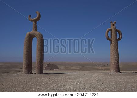 Arica, Chile - August 21, 2017: Sculptures known as