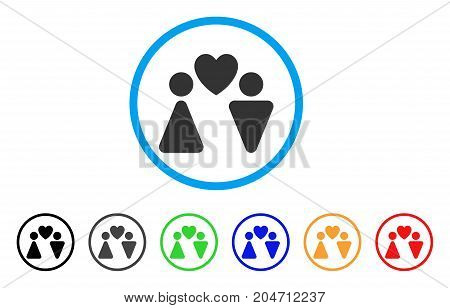 Love Couple rounded icon. Style is a flat love couple gray symbol inside light blue circle with black, gray, green, blue, red, orange color versions. Vector designed for web and software interfaces.