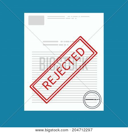 Vector Rejected paper document concept. Red rejected stamp on worker profile. Vector flat illustration. -stock vector