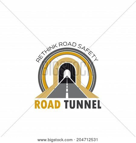 Road tunnel isolated icon. Highway or asphalt freeway leading to road tunnel vector symbol for transportation design, road building and car travel emblem
