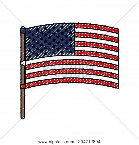 flag united states of america in flagpole waving colored crayon silhouette vector illustration