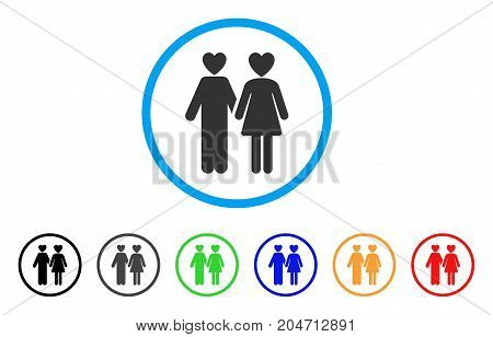 Lovers rounded icon. Style is a flat lovers gray symbol inside light blue circle with black, gray, green, blue, red, orange color versions. Vector designed for web and software interfaces.