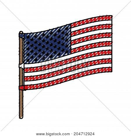 flag united states of america in flagpole to side in colored crayon silhouette vector illustration