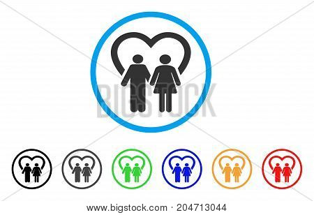 Marriage rounded icon. Style is a flat marriage gray symbol inside light blue circle with black, gray, green, blue, red, orange variants. Vector designed for web and software interfaces.